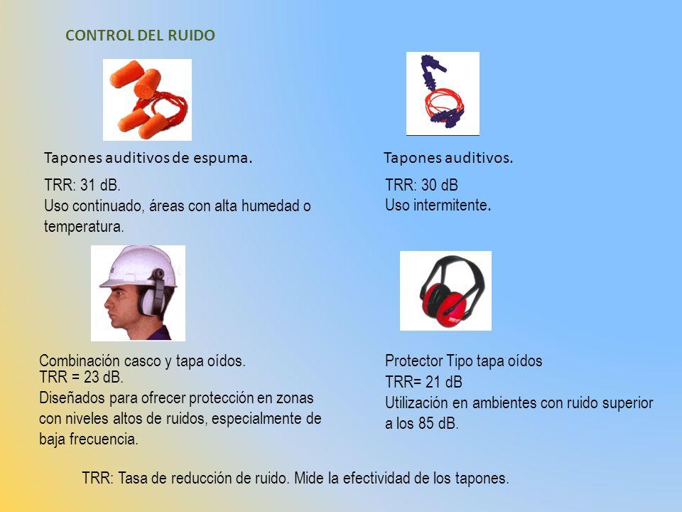 CONTROL DEL RUIDO Tapones auditivos de espuma.Tapones auditivos. TRR: 30 dB Uso intermitente. TRR: 31 dB. Uso continuado, áreas con alta humedad o tem