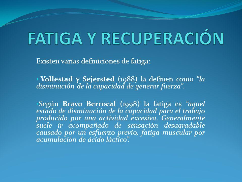 FATIGA Y RECUPERACIÓN La fatiga tiene doble acción: Limita el rendimiento.