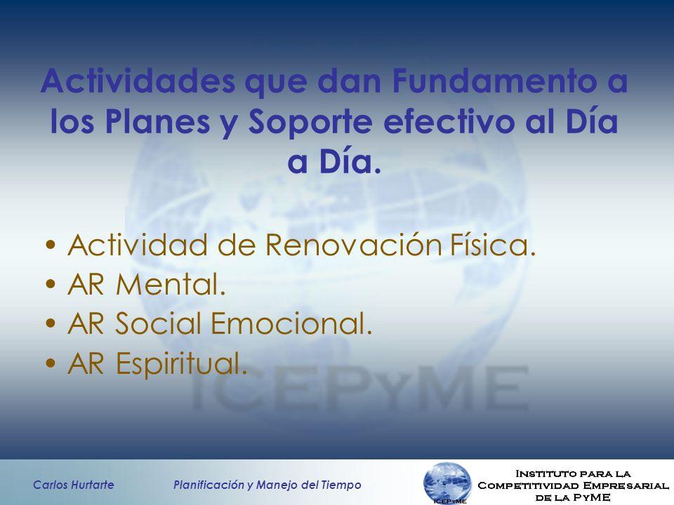 Carlos Hurtarte Planificación y Manejo del Tiempo Actividades que dan Fundamento a los Planes y Soporte efectivo al Día a Día. Actividad de Renovación
