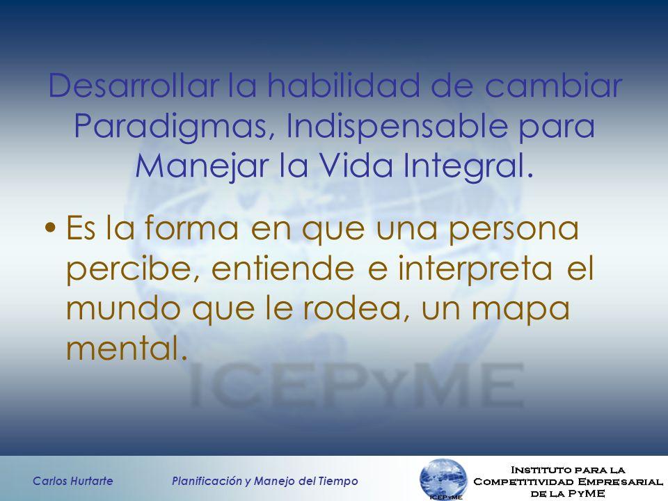 Carlos Hurtarte Planificación y Manejo del Tiempo Desarrollar la habilidad de cambiar Paradigmas, Indispensable para Manejar la Vida Integral. Es la f