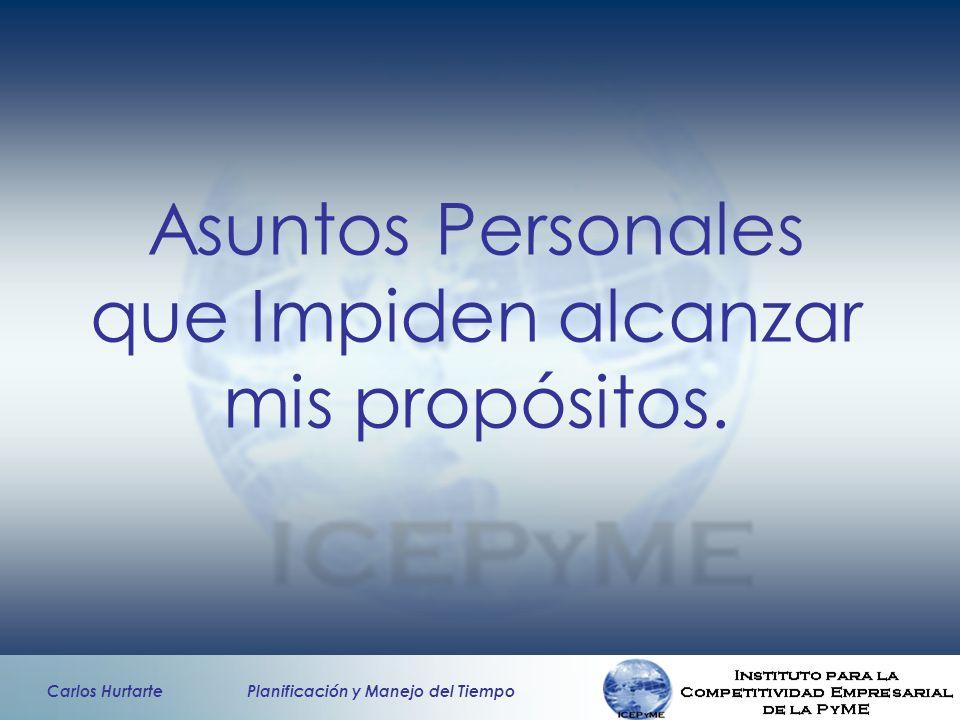Carlos Hurtarte Planificación y Manejo del Tiempo Asuntos Personales que Impiden alcanzar mis propósitos.