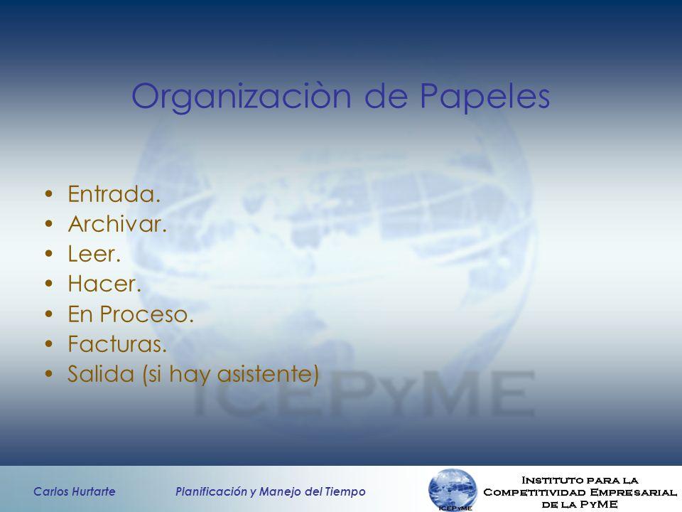 Carlos Hurtarte Planificación y Manejo del Tiempo Organizaciòn de Papeles Entrada. Archivar. Leer. Hacer. En Proceso. Facturas. Salida (si hay asisten