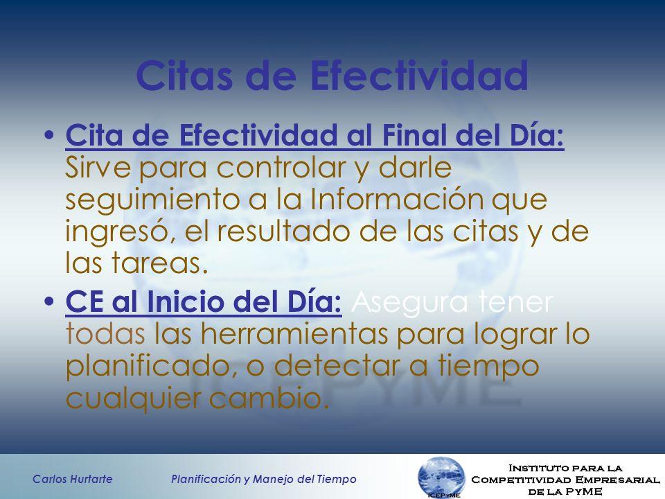 Carlos Hurtarte Planificación y Manejo del Tiempo Citas de Efectividad Cita de Efectividad al Final del Día: Sirve para controlar y darle seguimiento