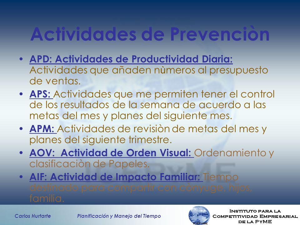 Carlos Hurtarte Planificación y Manejo del Tiempo Actividades de Prevenciòn APD: Actividades de Productividad Diaria: Actividades que añaden n ù meros