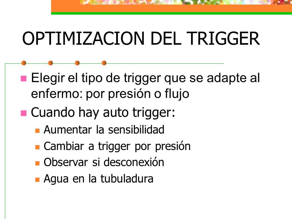 OPTIMIZACION DEL TRIGGER Elegir el tipo de trigger que se adapte al enfermo: por presión o flujo Cuando hay auto trigger: Aumentar la sensibilidad Cam