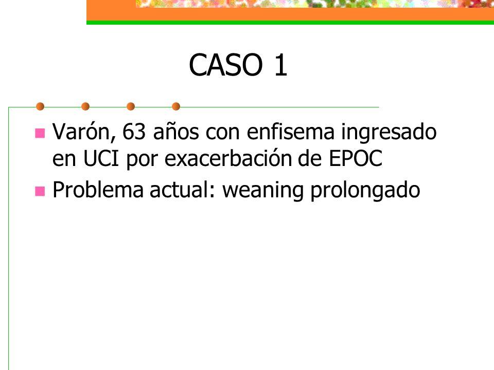 CASO 1 Varón, 63 años con enfisema ingresado en UCI por exacerbación de EPOC Problema actual: weaning prolongado