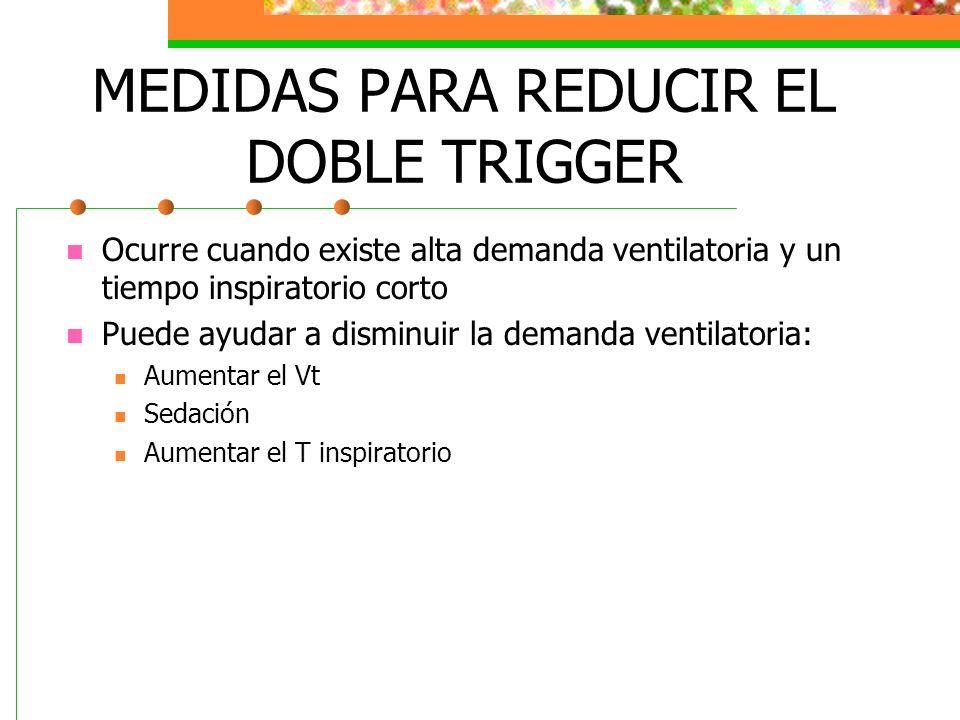 MEDIDAS PARA REDUCIR EL DOBLE TRIGGER Ocurre cuando existe alta demanda ventilatoria y un tiempo inspiratorio corto Puede ayudar a disminuir la demand