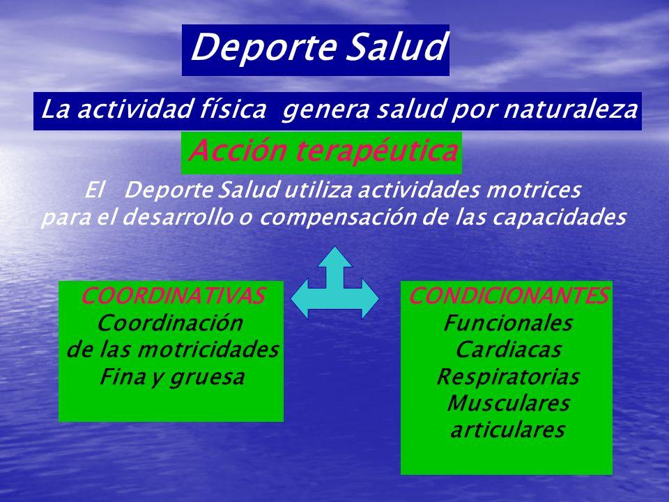 Deporte Salud La actividad física genera salud por naturaleza El Deporte Salud utiliza actividades motrices para el desarrollo o compensación de las c