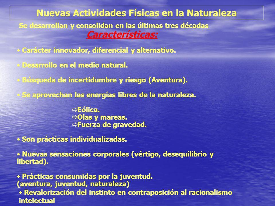 Nuevas Actividades Físicas en la Naturaleza Se desarrollan y consolidan en las últimas tres décadas Características: Carácter innovador, diferencial y
