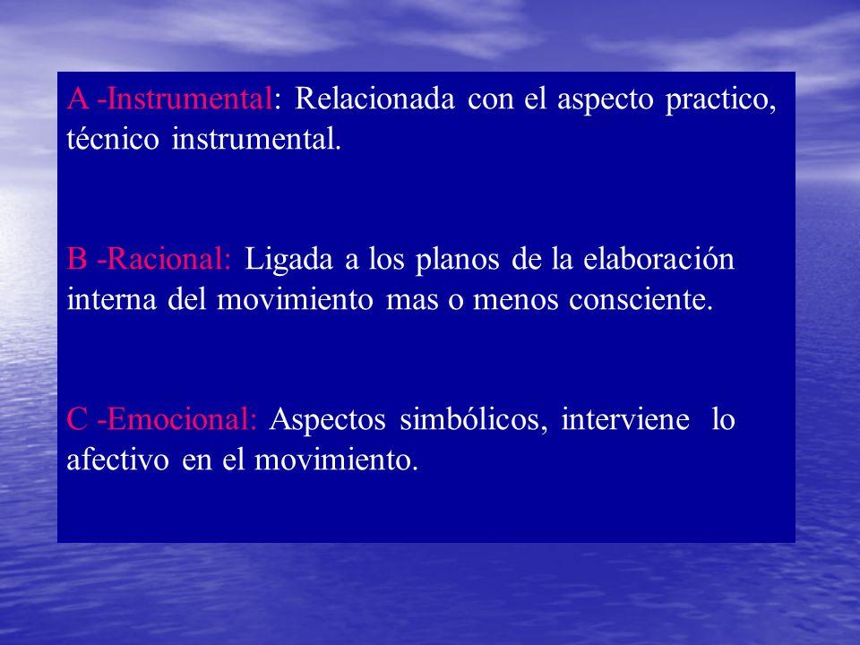 A -Instrumental: Relacionada con el aspecto practico, técnico instrumental. B -Racional: Ligada a los planos de la elaboración interna del movimiento