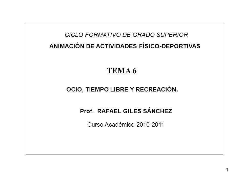 1 CICLO FORMATIVO DE GRADO SUPERIOR ANIMACIÓN DE ACTIVIDADES FÍSICO-DEPORTIVAS OCIO, TIEMPO LIBRE Y RECREACIÓN. TEMA 6 Prof. RAFAEL GILES SÁNCHEZ Curs