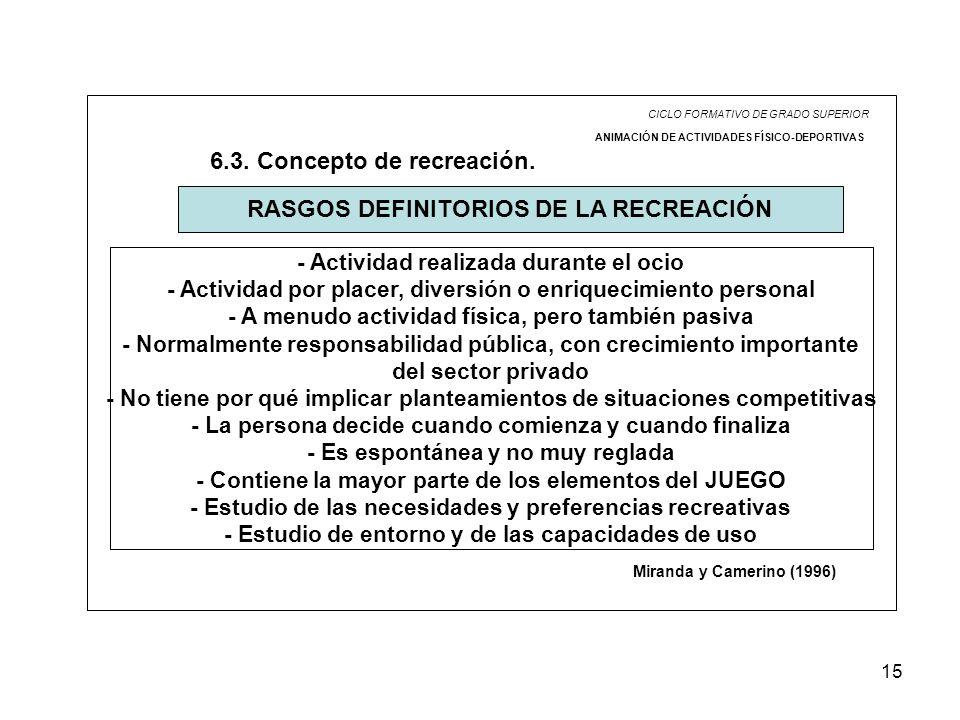 15 CICLO FORMATIVO DE GRADO SUPERIOR ANIMACIÓN DE ACTIVIDADES FÍSICO-DEPORTIVAS 6.3. Concepto de recreación. RASGOS DEFINITORIOS DE LA RECREACIÓN Mira