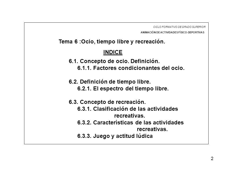 2 CICLO FORMATIVO DE GRADO SUPERIOR ANIMACIÓN DE ACTIVIDADES FÍSICO-DEPORTIVAS Tema 6 :Ocio, tiempo libre y recreación. INDICE 6.1. Concepto de ocio.