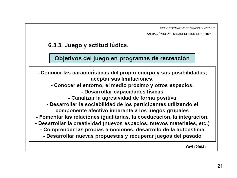 21 CICLO FORMATIVO DE GRADO SUPERIOR ANIMACIÓN DE ACTIVIDADES FÍSICO-DEPORTIVAS 6.3.3. Juego y actitud lúdica. Objetivos del juego en programas de rec