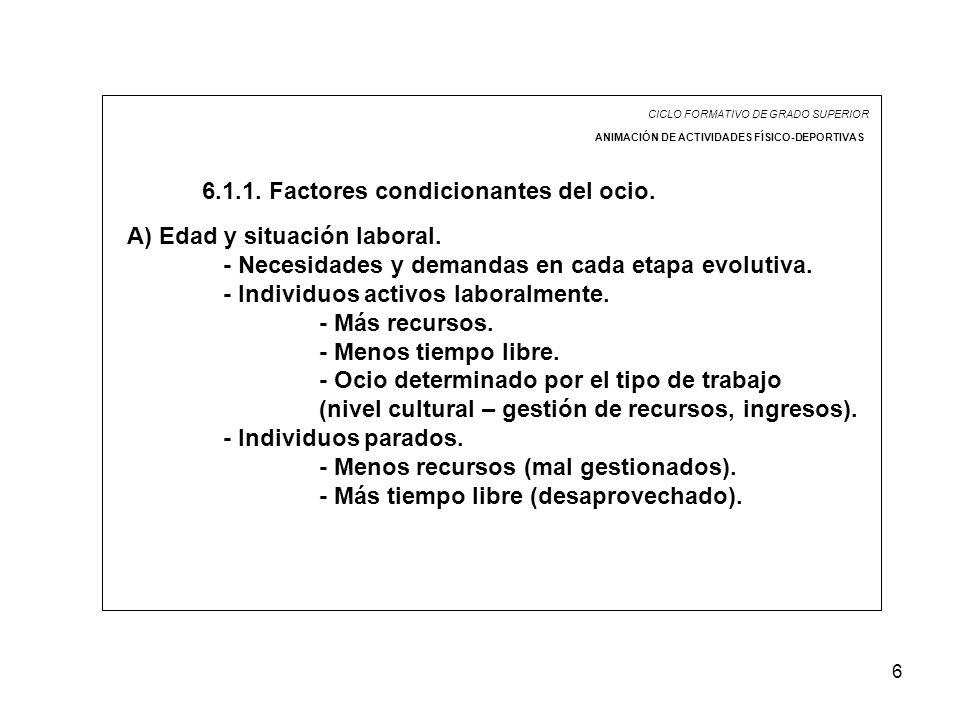 6 CICLO FORMATIVO DE GRADO SUPERIOR ANIMACIÓN DE ACTIVIDADES FÍSICO-DEPORTIVAS 6.1.1. Factores condicionantes del ocio. A) Edad y situación laboral. -