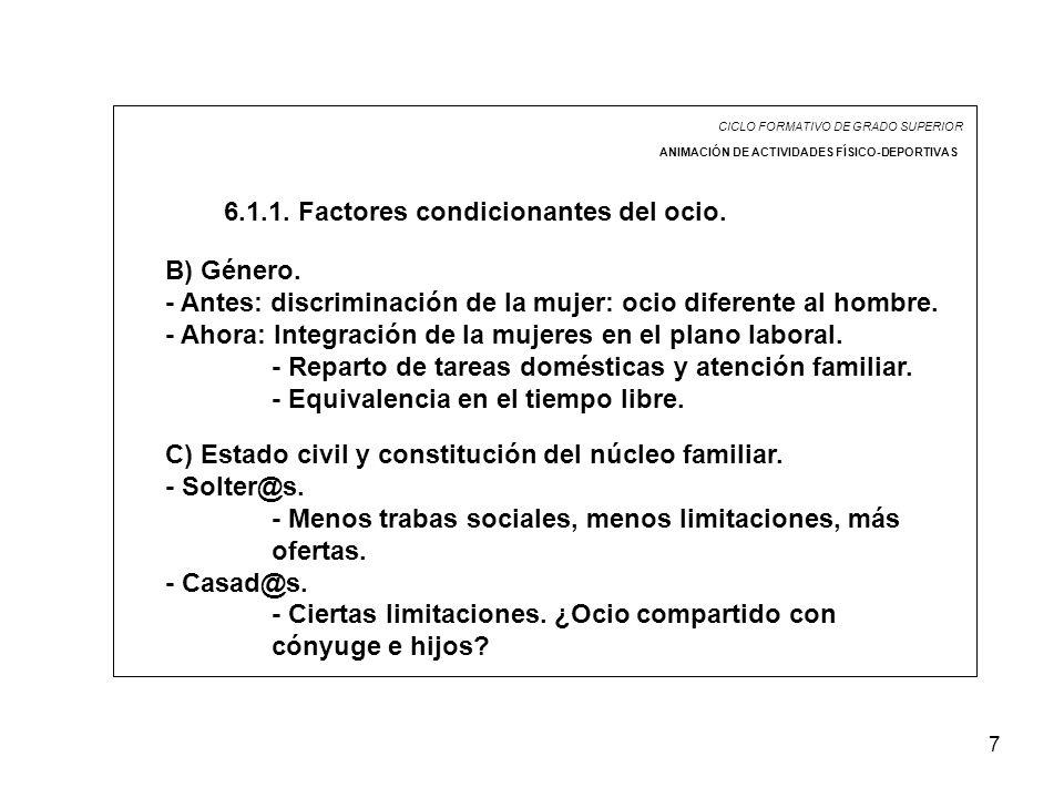 7 CICLO FORMATIVO DE GRADO SUPERIOR ANIMACIÓN DE ACTIVIDADES FÍSICO-DEPORTIVAS 6.1.1. Factores condicionantes del ocio. B) Género. - Antes: discrimina