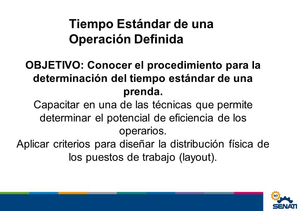 Tiempo Estándar de una Operación Definida OBJETIVO: Conocer el procedimiento para la determinación del tiempo estándar de una prenda. Capacitar en una
