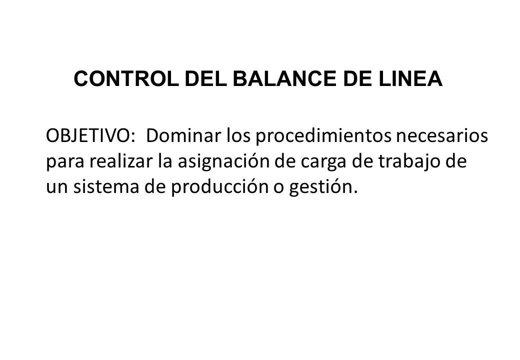 CONTROL DEL BALANCE DE LINEA OBJETIVO: Dominar los procedimientos necesarios para realizar la asignación de carga de trabajo de un sistema de producci