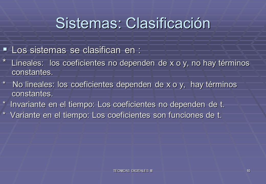TECNICAS DIGITALES III11 A los sistemas lineales se les puede aplicar el principio de superposición.
