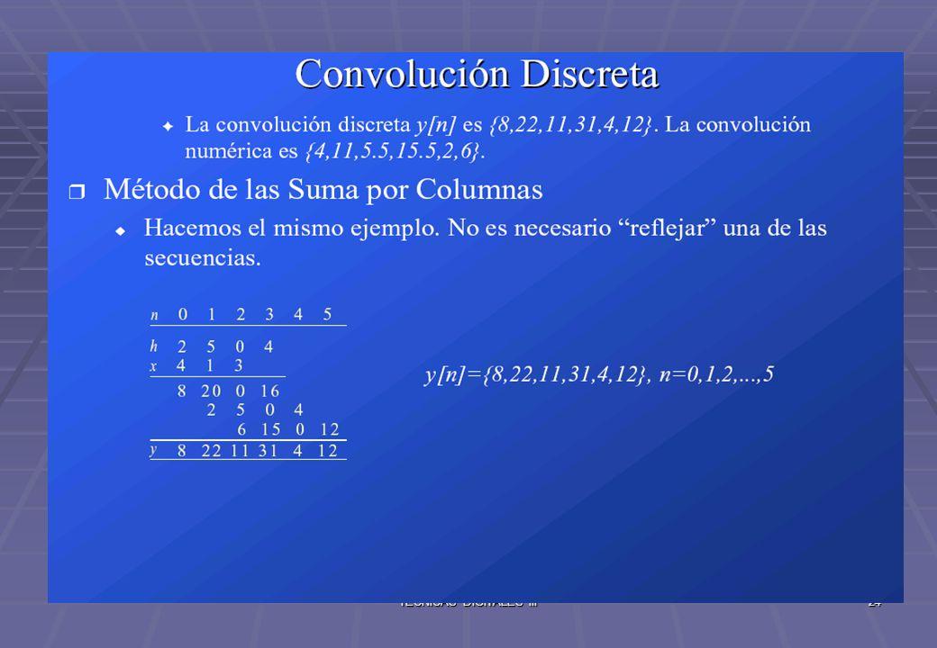 TECNICAS DIGITALES III25 Correlación discreta : Se definen de igual manera que en el caso continuo, así como la autocorrelación.