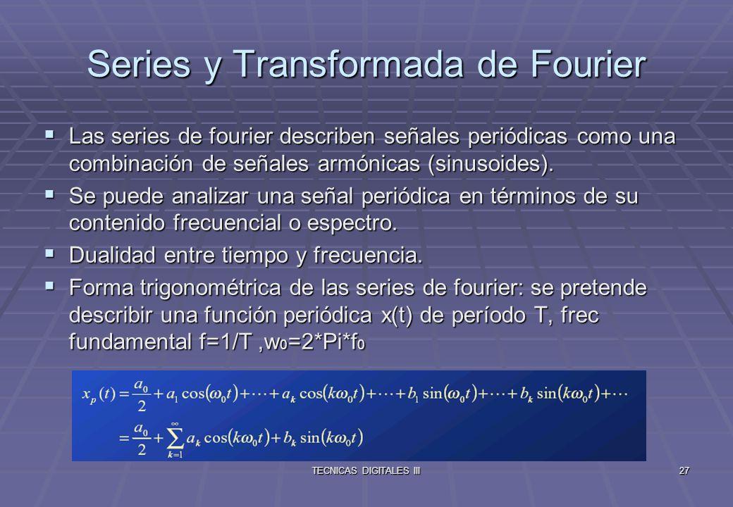 TECNICAS DIGITALES III28 En forma exponencial: Cálculo de los coeficientes Relación de Parseval La potencia contenida en una señal puede evaluarse a partir de los coeficientes de su correspondiente serie de Fourier.