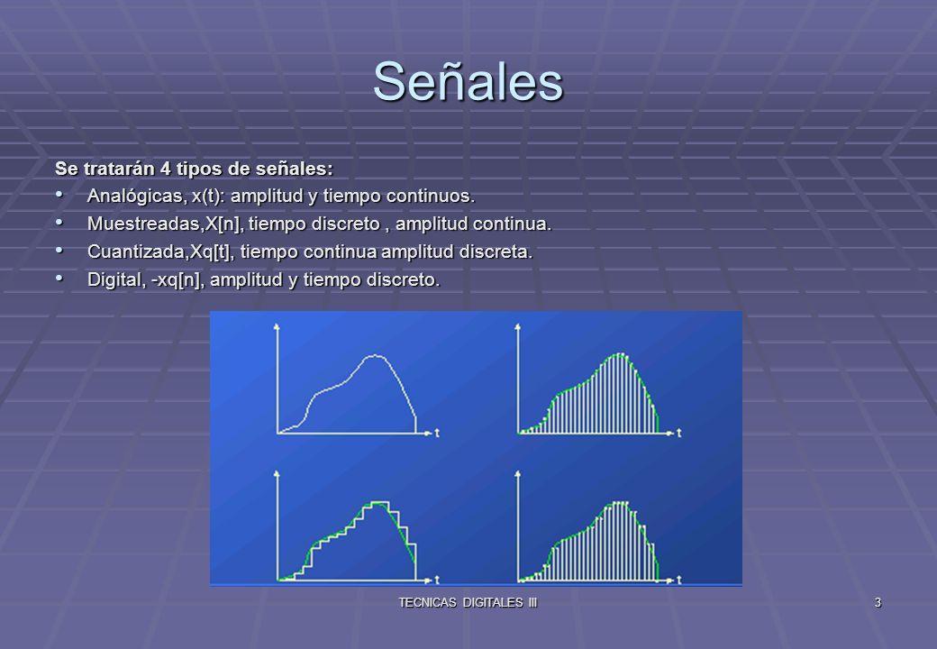 TECNICAS DIGITALES III4 Clasificación de las señales Clasificación de las señales según su duración Clasificación de las señales según su duración Causales: Son 0 para t<0.
