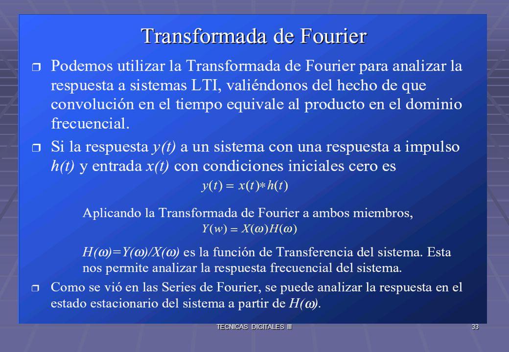 TECNICAS DIGITALES III34 Limitaciones de la Transformada de Fourier El sistema debe tener condiciones iniciales cero.