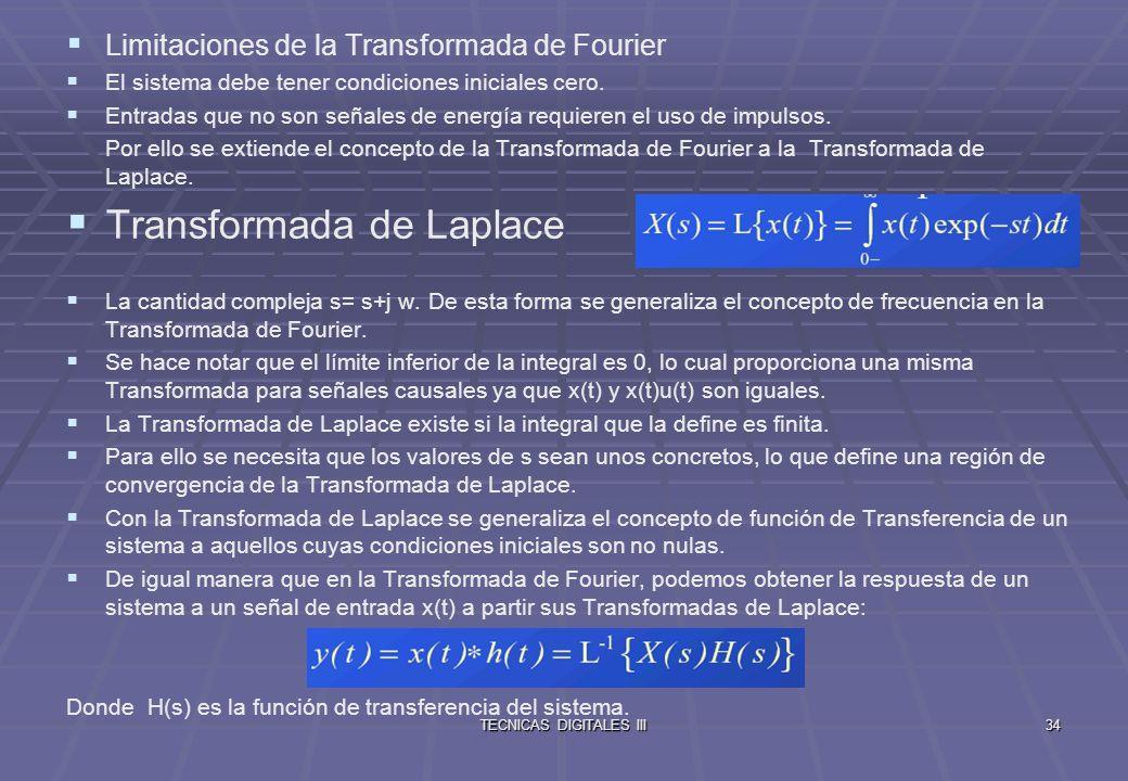 TECNICAS DIGITALES III35 Muestreo y Cuantización El muestreo digital de una señal analógica trae consigo una discretización tanto en el dominio temporal como en el de la amplitud.