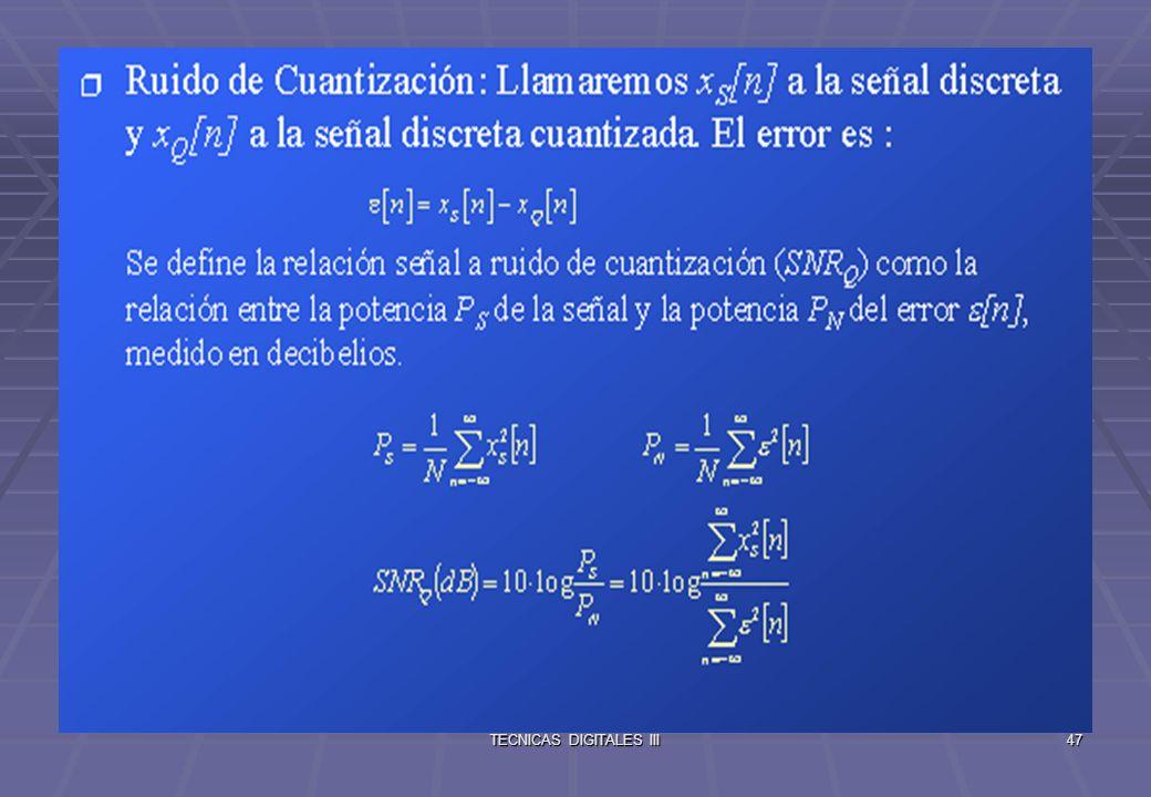 TECNICAS DIGITALES III48 Transformada Discreta de Fourier (DFT) Transformada Discreta de Fourier Analizaremos primero la DTFT (transformada de fourier en tiempo discreto) que describe el espectro de señales discretas.