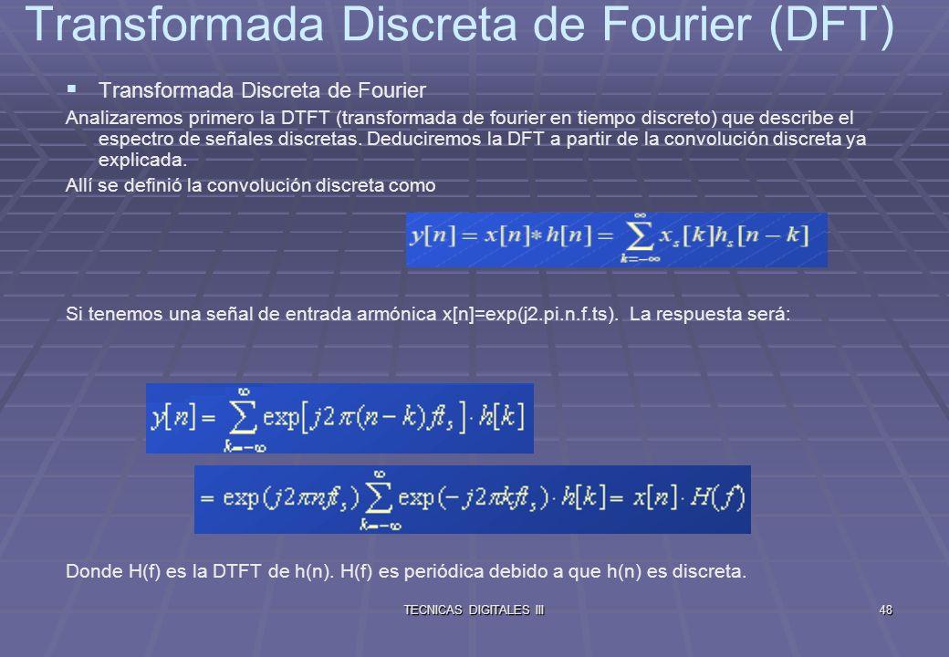 TECNICAS DIGITALES III49 Transformada Discreta de Fourier (DFT) Se define la DTFT de una señal discreta x[n] como Dualidad entre las series de Fourier y la DTFT Tenemos una señal periódica continua xp(t).