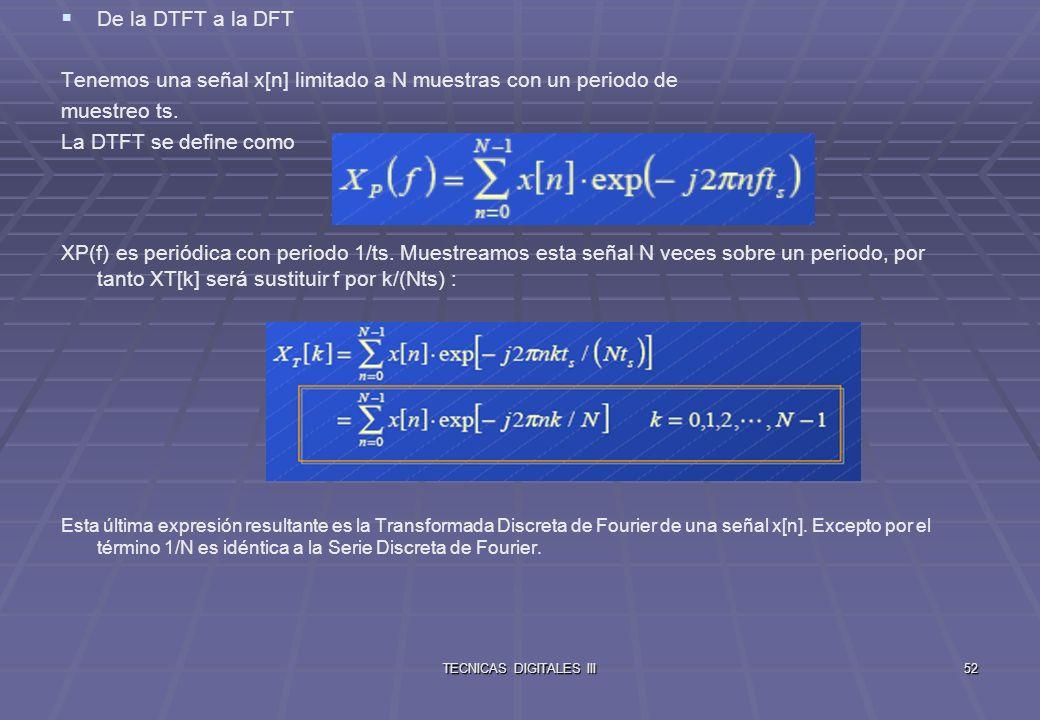 TECNICAS DIGITALES III53 Podemos interpretar los resultados del DFT de una secuencia xs[n] desde dos puntos de vista: Como los coeficientes espectrales (series de Fourier) de una señal periódica discreta cuyos muestreos coinciden con la secuencia xs[n].