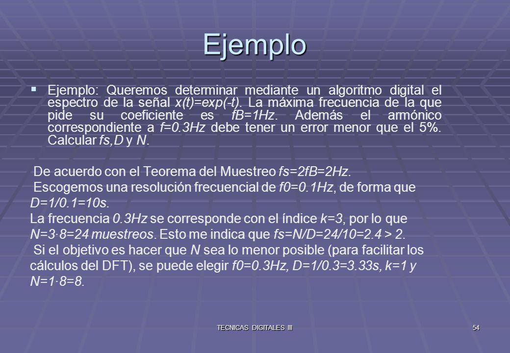 TECNICAS DIGITALES III55 Resumiendo Series y transformadas Series de Fourier Señal Continua Periódica (periodo T), Espectro Discreto Aperiódico (intervalo de discretización 1/T) Transformada de Fourier Señal Continua Aperiódica, Espectro Continuo Aperiódico.