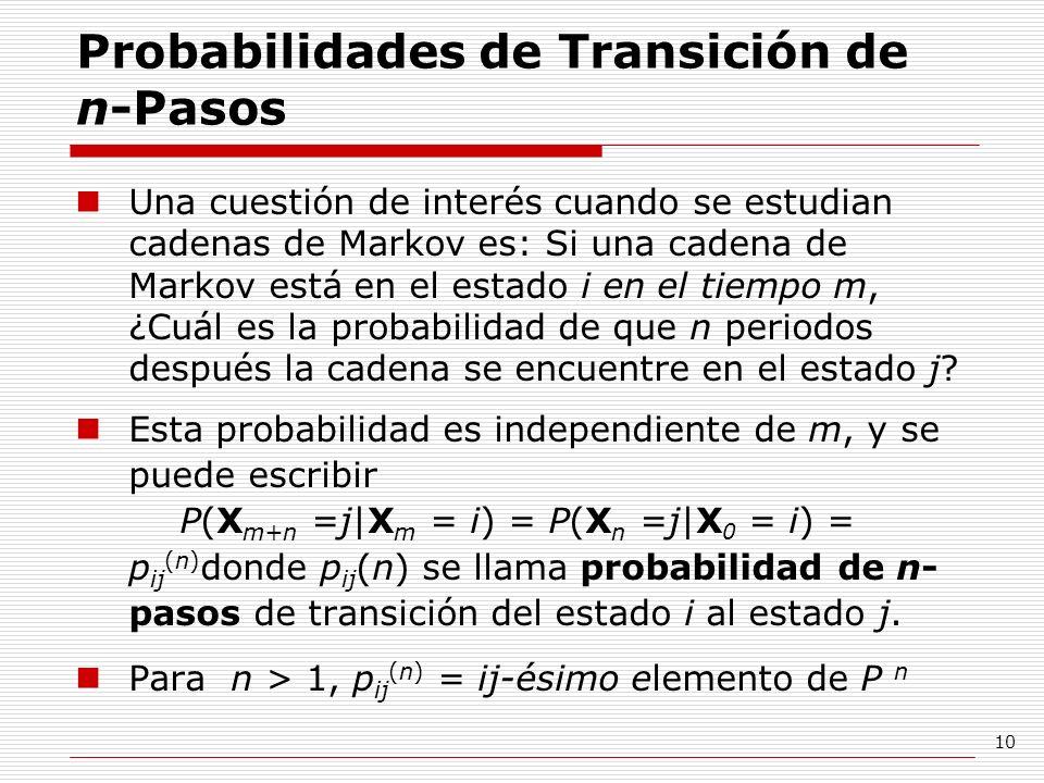 10 Probabilidades de Transición de n-Pasos Una cuestión de interés cuando se estudian cadenas de Markov es: Si una cadena de Markov está en el estado