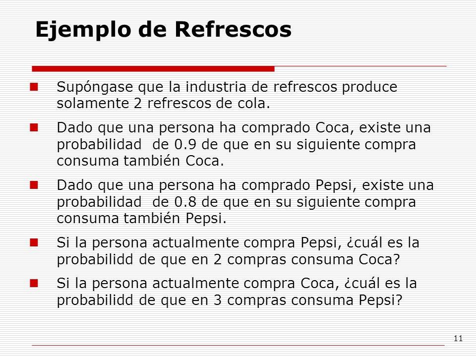 11 Ejemplo de Refrescos Supóngase que la industria de refrescos produce solamente 2 refrescos de cola. Dado que una persona ha comprado Coca, existe u