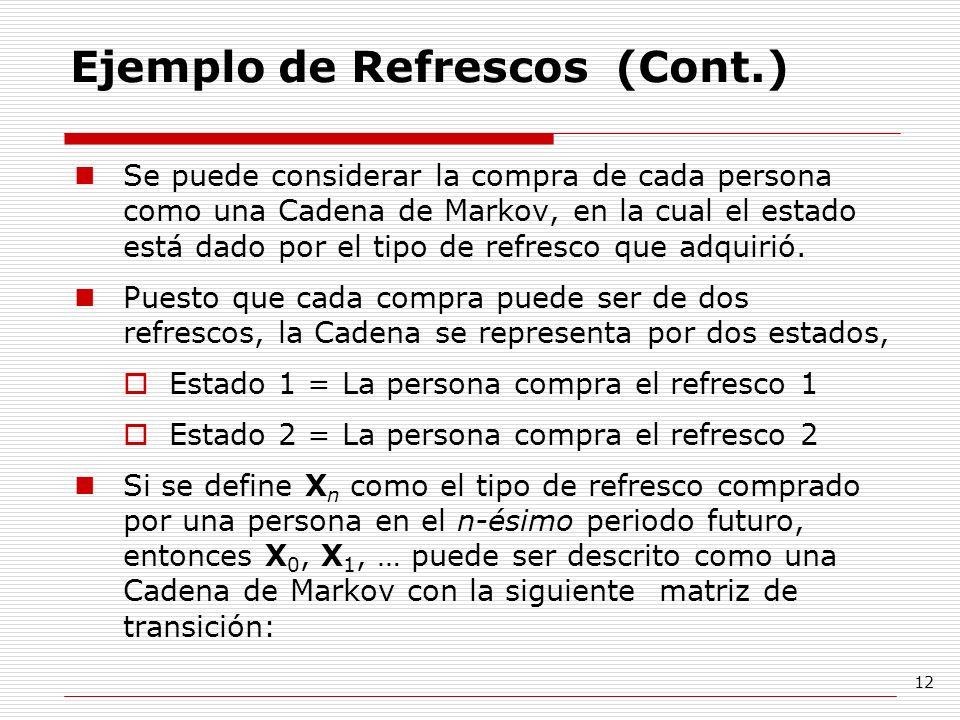 12 Ejemplo de Refrescos (Cont.) Se puede considerar la compra de cada persona como una Cadena de Markov, en la cual el estado está dado por el tipo de