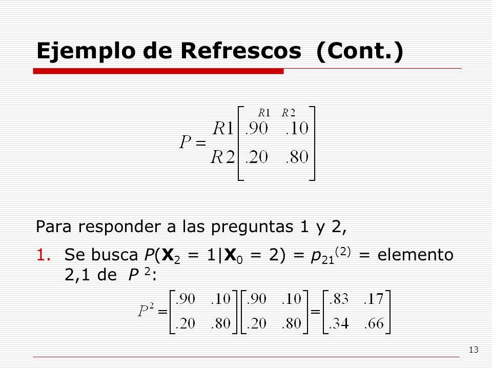 13 Ejemplo de Refrescos (Cont.) Para responder a las preguntas 1 y 2, 1.Se busca P(X 2 = 1 X 0 = 2) = p 21 (2) = elemento 2,1 de P 2 :