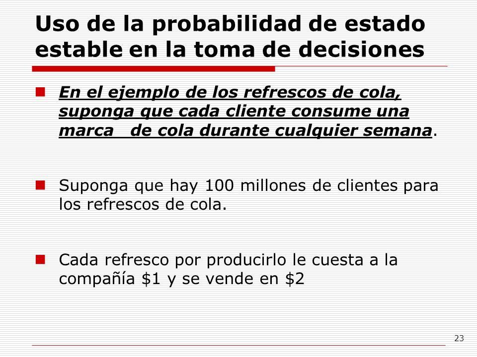 23 Uso de la probabilidad de estado estable en la toma de decisiones En el ejemplo de los refrescos de cola, suponga que cada cliente consume una marc