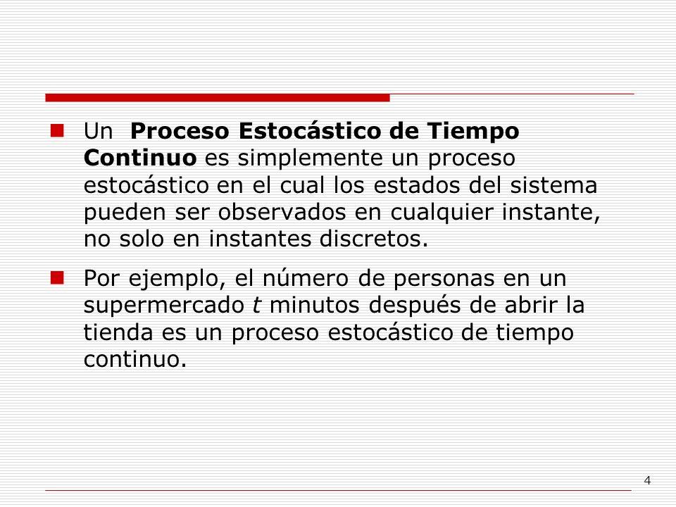 4 Un Proceso Estocástico de Tiempo Continuo es simplemente un proceso estocástico en el cual los estados del sistema pueden ser observados en cualquie