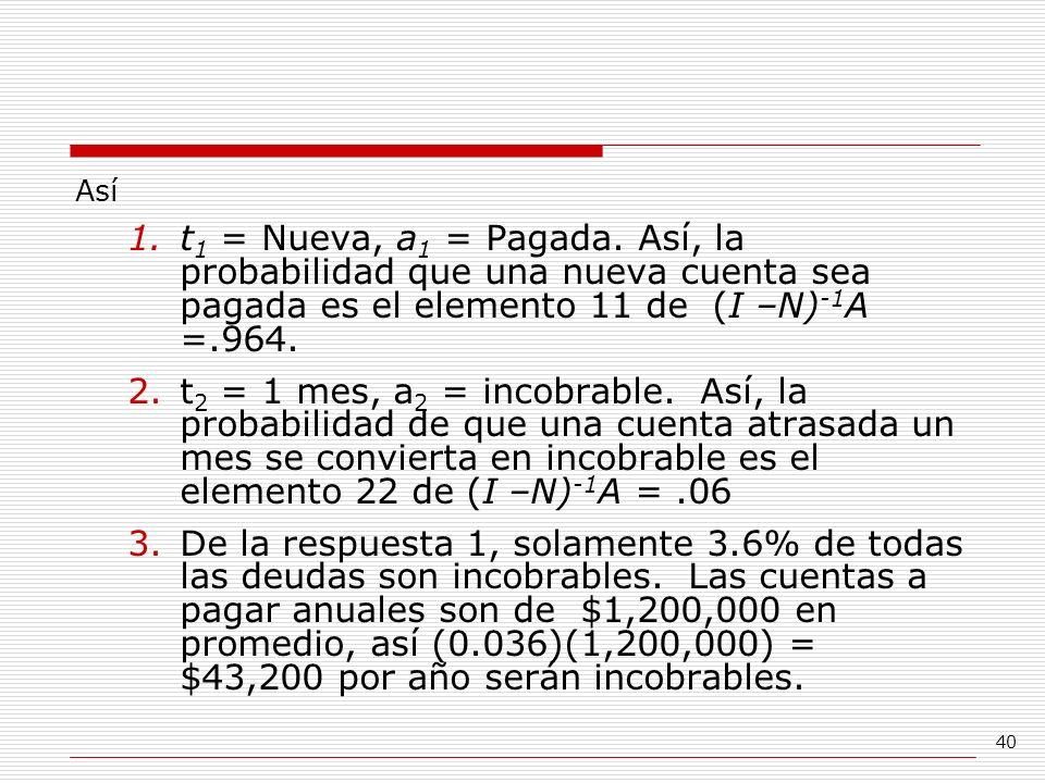 40 Así 1.t 1 = Nueva, a 1 = Pagada. Así, la probabilidad que una nueva cuenta sea pagada es el elemento 11 de (I –N) -1 A =.964. 2.t 2 = 1 mes, a 2 =
