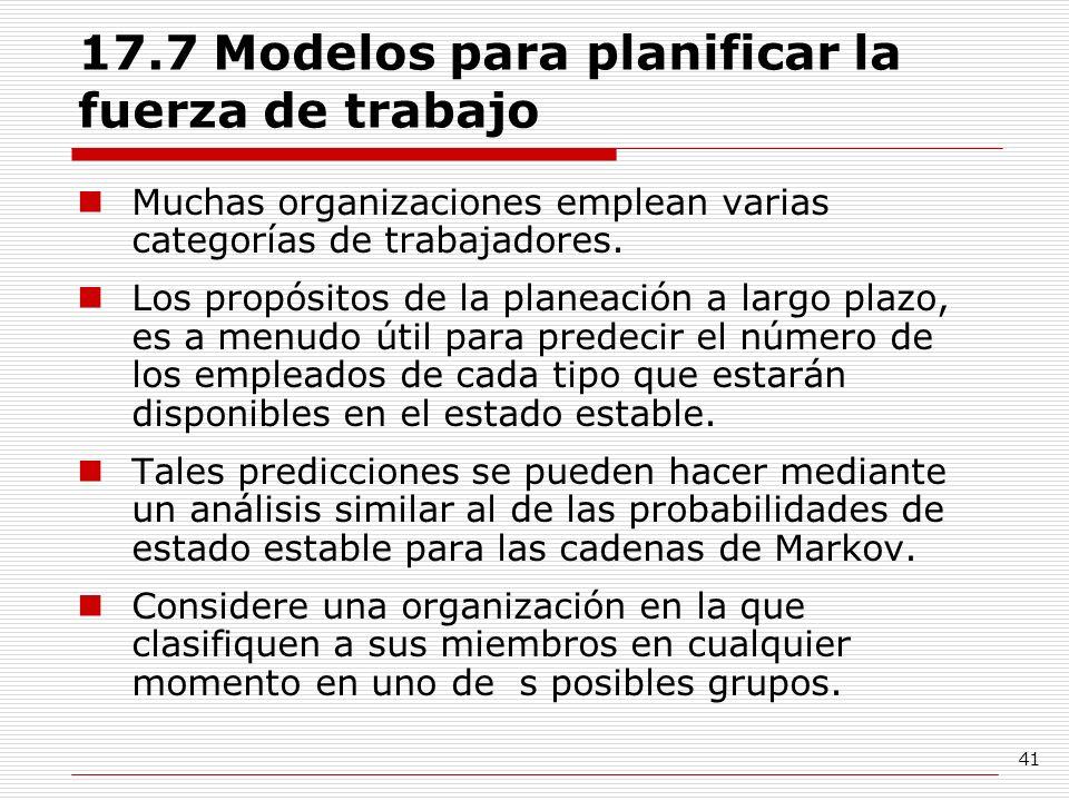 41 17.7 Modelos para planificar la fuerza de trabajo Muchas organizaciones emplean varias categorías de trabajadores. Los propósitos de la planeación