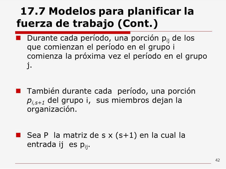 42 17.7 Modelos para planificar la fuerza de trabajo (Cont.) Durante cada período, una porción p ij de los que comienzan el período en el grupo i comi