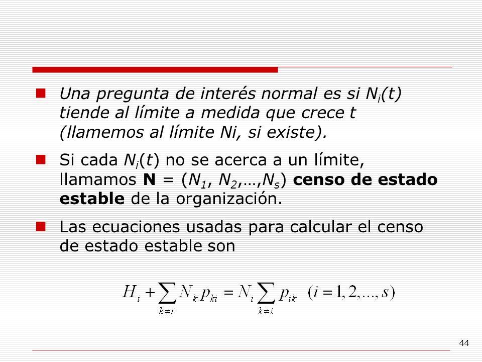44 Una pregunta de interés normal es si N i (t) tiende al límite a medida que crece t (llamemos al límite Ni, si existe). Si cada N i (t) no se acerca