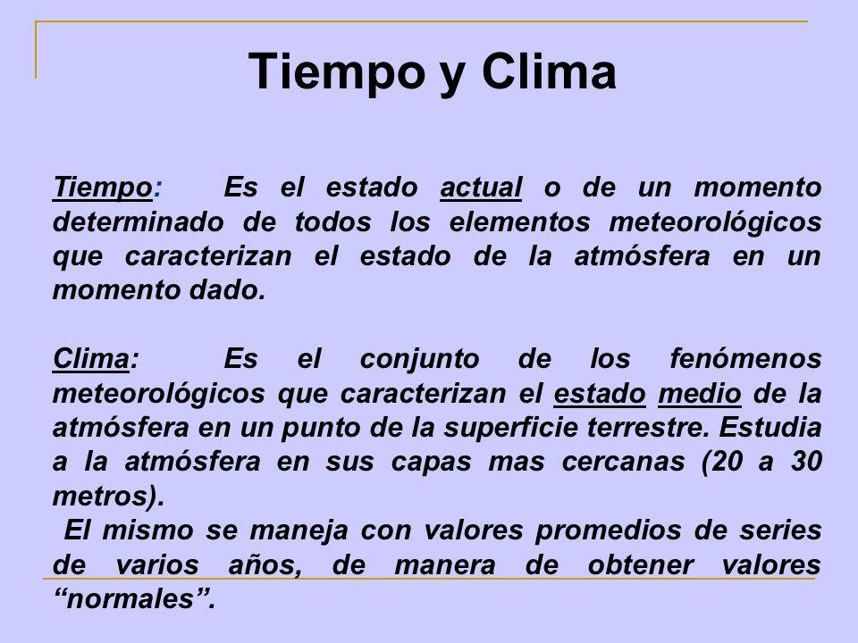 Tiempo y Clima Tiempo:Es el estado actual o de un momento determinado de todos los elementos meteorológicos que caracterizan el estado de la atmósfera