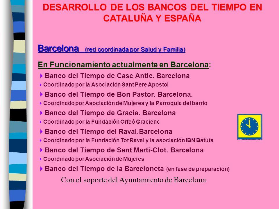 DESARROLLO DE LOS BANCOS DEL TIEMPO EN CATALUÑA Y ESPAÑA Barcelona (red coordinada por Salud y Familia) En Funcionamiento actualmente en Barcelona: Ba