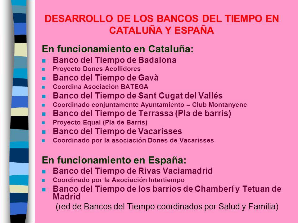 En funcionamiento en Cataluña: n Banco del Tiempo de Badalona n Proyecto Dones Acollidores n Banco del Tiempo de Gavà n Coordina Asociación BATEGA n B