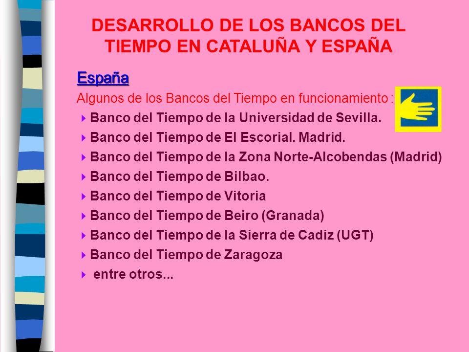 España Algunos de los Bancos del Tiempo en funcionamiento : Banco del Tiempo de la Universidad de Sevilla. Banco del Tiempo de El Escorial. Madrid. Ba