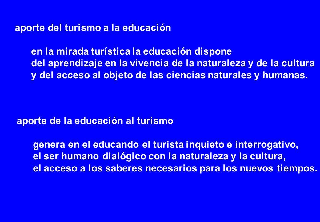 aporte del turismo a la educación en la mirada turística la educación dispone del aprendizaje en la vivencia de la naturaleza y de la cultura y del acceso al objeto de las ciencias naturales y humanas.