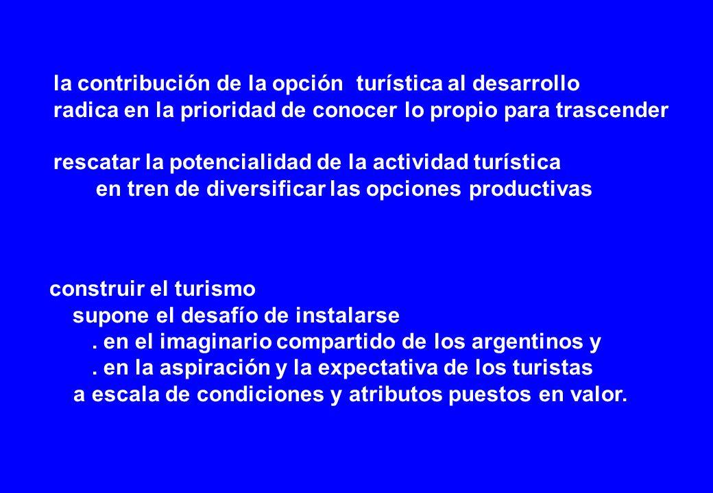la contribución de la opción turística al desarrollo radica en la prioridad de conocer lo propio para trascender rescatar la potencialidad de la actividad turística en tren de diversificar las opciones productivas construir el turismo supone el desafío de instalarse.