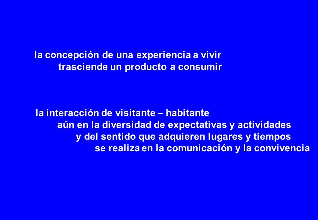 la concepción de una experiencia a vivir trasciende un producto a consumir la interacción de visitante – habitante aún en la diversidad de expectativas y actividades y del sentido que adquieren lugares y tiempos se realiza en la comunicación y la convivencia