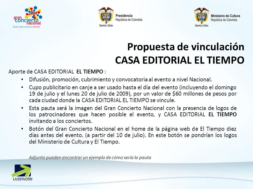 Aporte de CASA EDITORIAL EL TIEMPO : Difusión, promoción, cubrimiento y convocatoria al evento a nivel Nacional.